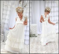 Wholesale Cute Blue Wedding Dresses - 2017 Bohemian Summer Beach Flower Girl Dresses V Neck Vintage Lace Tiers Lace Cute Princess Girls Dresses For Wedding Custom BA4995