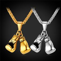 Wholesale Workout Charms - New Men Necklace Fitness Fashion Stainless Steel Workout Jewelry Gold Plated Pair Boxing Glove Charm Pendant