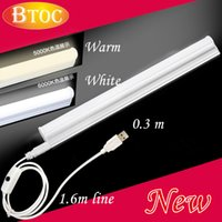 Wholesale Led T5 Bar - Wholesale-Portable lamp tube LED Portable Lanterns 0.3m USB connector Switch Magnet adsorption bar Outdoor camping lamp T5 warm white lamp