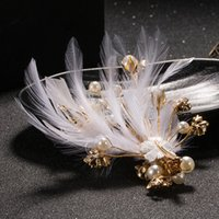 Wholesale Claw Clips Feathers - Wedding Bridal Bridesmaid Handmade Colored Feathers Alloy Hairpin Headdress Colored Feathers Beads Hair band Hair Jewelry Accessories
