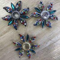 Wholesale Double Sided Clover - Clover peach blossom Double sided six color diamond Fidget Spinner Hand Toy All Fidgets Toys Rainbow Hand Spinner Fingertips Spiral Toys