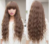 pelucas rizadas de alta calidad de largo al por mayor-Traje de peluca cosplay rizado largo de las muchachas de las mujeres arty negro marrón oscuro marrón claro 70 cm pelucas de pelo sintético de alta calidad