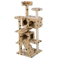 Casas En Los Árboles Del Gato Baratos-New Cat Tree Tower Condo Scratch Post Kitty Pet Play House Playas Beige