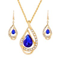 Wholesale Alibaba China - China alibaba supplier wholesale silver plated alloy lady crystals earring necklace fashion jewelry set for women