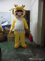 traje de dragão amarelo venda por atacado-Dragão amarelo dinossauro trajes da mascote para adultos de natal do Dia Das Bruxas Outfit Fancy Dress Suit Frete Grátis