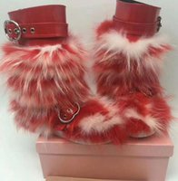 Wholesale Womens Blue Snow Boots - 2017 winter Fashion Womens shiny red black sky blue patent leather Silver buckle strap mink fox fur trim moon snow boots