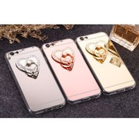 Wholesale Heart Shape Love Phone - Luxury Rotatable Love Heart Shape Crystal Metal Ring Holder Hook Finger Grip Stand Mount Universal For All Mobile Phone