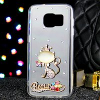 Wholesale Crown Mobile Phone Case - 20pcs Crown Cat Rhinestone phone case For Samsung NOTE 5 NOTE 4 NOTE 3 transparent mobile phone shell Case