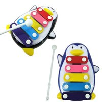 Wholesale Penguin Note - Wholesale- 1 set Kid 5-Note Xylophone Musical Toys Wisdom Development Baby Penguin Hot training toy children birthday gifts