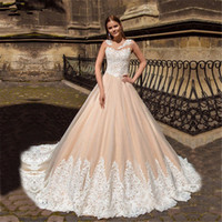 loja de noiva em renda venda por atacado-Lace Champagne Vintage Vestido de casamento com cores apliques de renda Andar de comprimento Tulle Loja Online vestidos de noiva Vestido de noiva