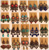 Wholesale Vintage National Bohemian - Bohemian Dangle Hook Earrings Womens Mixed Lot Retro Vintage National Style Retail Choice Hanging Earring Dangle Earrings