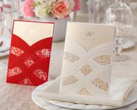 Wholesale Invitation Sets - Wholesale- 50pcs set 2014 fall newly arrival free envelop and free seal Wedding Invitation pocket card CW060 076