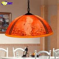 Wholesale Dining Oil Paints - FUMAT Creative Vintage Art Stained Glass Decor Red Oil painting Shade Pendant Lights Living Room LED Pendant Lamps