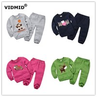 Wholesale Fleece Set Boy - Wholesale- 1-5Y 2017 new autumn Baby clothing sets boys cartoon sweater pants fleece toddler little girl clothes clothing fleece DF1002