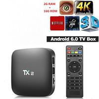 caja de tv tx2 al por mayor-2 GB 16 GB de Rockchip RK3229 Android 6.0 TV caja de soporte H.265 H.265 4K 60tps 2,4 GHz Wi-Fi BT2.1 Media Player Box TX2 R2