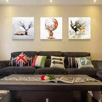 Wholesale Triptych Painting Abstract - Triptych Unframed Wall Pictures Watercolor Deer Poster Print Abstract Animal Canvas Painting Living Room Home Decor Wall Art