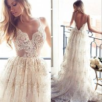 Wholesale High End Beach Wedding Dresses - High End Lace A Line Wedding Dresses Sexy Spaghetti Neck Backless Wedding Gowns Sweep Train Spring Beach Vintage Lurelly Illusion Bridal