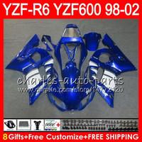 Wholesale Yamaha R6 Blue Fairing Kits - 8Gifts 23Color For YAMAHA YZF600 YZFR6 98 99 00 01 02 YZF-R600 54HM8 YZF 600 YZF-R6 YZF R6 blue black 1998 1999 2000 2001 2002 Fairing kit