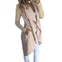 Wholesale Womens Collar Top Xs - Wholesale- Fashion womens casual lapel collar Windbreaker overcoat Duster OL Ladies Long Sleeve straight type Coat Jacket Tops