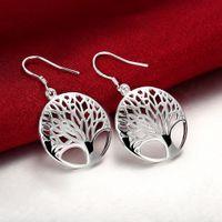 Wholesale Popular Trees - 2017 Hot Brand New Fashion Popular Earrings Silver New Fashion Jewelry Good Quality Round Tree leaf lady earrings Women Earrings Jewelry