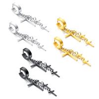 Wholesale Dangle Cross Stud Earrings - Punk Rock Unisex Mens Womens Stainless Steel Cross Dangle Hinged Hoop Huggie Earrings Hip Hop Biker Jewelry