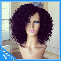 Wholesale Short Black Cosplay Wig Curly - cheap Hot sales synthetic Afro kinky curly lace front wig heat resistant sexy natural black short hair cut women wigs in stock cosplay wig
