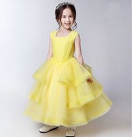 Wholesale Yellow Performance Tutu - Retail Girls Princess Dress Yellow Ball Gown For Wedding Party Tiered Gauze Long Length Piano Performance Dress D17035