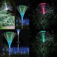 lumière optique à fibre optique achat en gros de-Vente en gros - 2pcs fibre optique Coloré changeant led lumière solaire éclairage extérieur éclairage jardin étanche lampe de noël