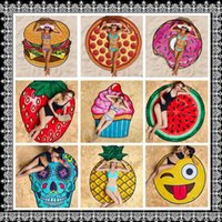 Wholesale Bath Shower Towel - Round Polyester Beach Shower Towel Blanket Yoga Towel Skull Ice Cream Strawberry Smiley Emoji Pineapple Pie Watermelon Towel KKA1431