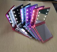 Wholesale Square Makeup Compact Mirror - New Makeup Mirrors Mini Portable Folding Compact Hand Cosmetic Make Up Pocket Mirror With 8 LED Light for Lady