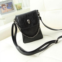 Wholesale Skull Design Bags - Wholesale- Chain Skull Design Vintage Women Leather Crossbody bags Handbag Lady Shoulder Cross body Messenger bag purses Sling Phone bags