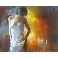 pinturas românticas modernas venda por atacado-Pinturas figurativas Meninas sentimento romântico Willem Haenraets arte moderna em tela para decoração do quarto pintados à mão