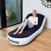 Wholesale Bestway lazy sofa outdoor inflatable bed household adult seat portable thickened flocking Healthy comfortable safe and sanitary hig