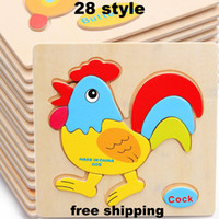 Wholesale Kid Toy Animal Jigsaw - 2017 Baby Animals Education Toys Intelligence Toys Kids Toys Cute Learning Educational Jigsaw Cartoon Gifts 28 Style Free DHL WX-T16