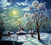 Wholesale Scenery Trees Painting - New diy diamond painting cross stitch kits resin pasted painting full round drill needlework Mosaic Home Decor scenery snow tree y0040