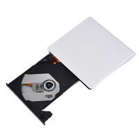 dvd ide laptop toptan satış-Freeshipping Ultra-ince USB 3.0 harici sürücü CD DVD yazar sürücü için dizüstü DVD RW DVD-RAM Optik Depolama Brülör Mac 10 OS sistemi için