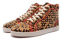 Wholesale Mens Leopard Print Shoes - High quality designer red bottom sneakers for men with Spikes black suede fashion casual mens shoes men High Top Leopard pattern shoes