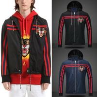 Wholesale Hood Jacket Pockets - Lightweight Nylon Hooded Windbreaker Jacket Man Striped Embroidery Angry Cat 2017 Hot Sale Hood Full Zip Nylon Wear Top