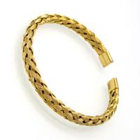 altın bükülmüş zincirler erkekler için toptan satış-Toptan Lüks Paslanmaz Çelik Twisted Zincir Kablo Bilezik Erkekler Altın Kaplama Açık Manşet Bilezik Bilezik Örgü tel Takı