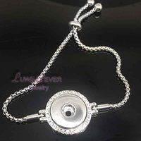 Wholesale Snake Silver Rhinestone Bracelet - high quality stretchable Rhinestones 038 Snap Button Bracelet Interchangeable Charm Jewelry For Women Men(Fit 18mm snaps )