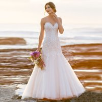Wholesale Simple Sweetheart Mermaid Dress - Custom Made Beach Mermaid Wedding Dresses Sweetheart Lace Appliques Plus Size Covered Button Long Beach Bridal Gown Backless 2017 Simple