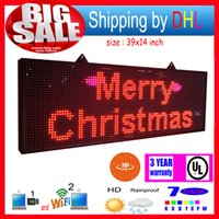 Wholesale Outdoor Full Color Led Screen - free shipping 39X14 inch P13 outdoor full color LED sign wireless and usb programmable rolling information 1000x360MM led display screen