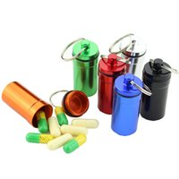 Wholesale Waterproof Aluminum Pill Box Aluminum Outdoors Medicine Bottle Key Ring Miniature Waterproof Small Gallipot First Aid Pill Container