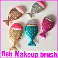 Wholesale Wood Fishing - New Mermaid Makeup Brush Powder Contour Fish Scales Mermaidsalon Foundation Brush 5Colors DHL Free Shipping