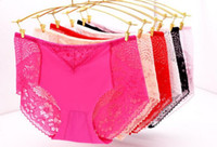 Wholesale Good Bikini Thongs - Good Qualtiy daily comfortable sexy ice silk and lace panties brief thong underwear back big side back lace WP206