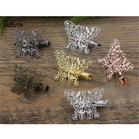 Wholesale Vintage Style Barrettes - BoYuTe 20Pcs 25*33MM Filigree Butterfly Hair Clip Vintage Style 6 Colors Plated Women Hairgrip Hair Jewelry