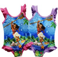 Wholesale Swimsuits For Baby Cartoons - Girl Moana Swimwear baby One-Pieces grenadine Lace Swimsuit for Big Girls 2017 New children cartoon moana sling kids swimming suit