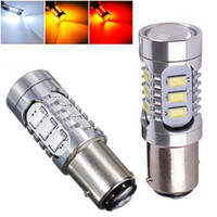 Discount smd led car auto - Wholesale- 4pcs 1157 BAY15D P21 4W 15 SMD 5630 5730 led High Power lamp 21 5w led car bulb auto parking lights 12V White Red Yellow