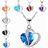 Blue Red Rhinestone Crystal Heart Love Forever Collier Silver Chain Lovers Colliers d'engagement pour femme Bijoux fantaisie 162078