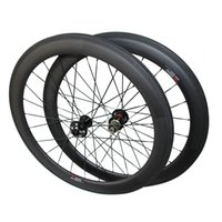 Wholesale Qr Bike - Free Shipping Disc Brake 23mm Width 60mm Clincher carbon road wheels Cyclocross wheelset Thru axle or QR Disc brake carbon bike wheels